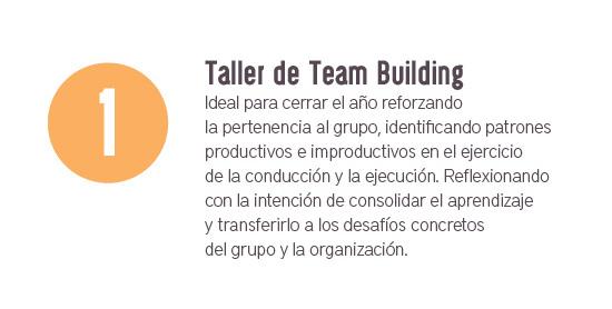 Taller de Team Building. Ideal para cerrar el año reforzando la pertenencia al grupo, identificando patrones productivos e improductivos en el ejercicio de la conducción y ejecución. Reflexionando con la intención de consolidar el aprendizaje y transferirlo a los desafíos concretos del grupo y la organización.